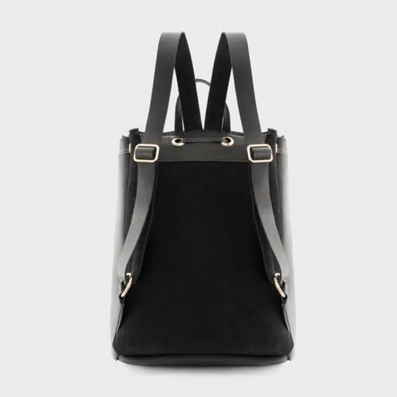 Sheepskin Drawstring Backpack Black