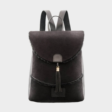 Sheepskin Drawstring Backpack Black