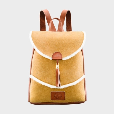 Sheepskin Drawstring Backpack