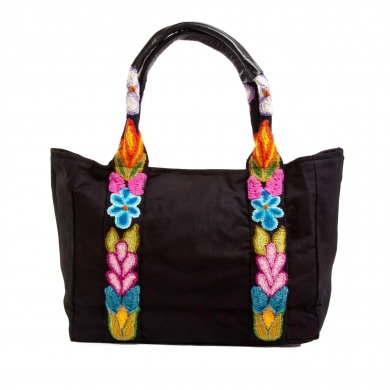 Wool embroidered Canvas Bag - Black