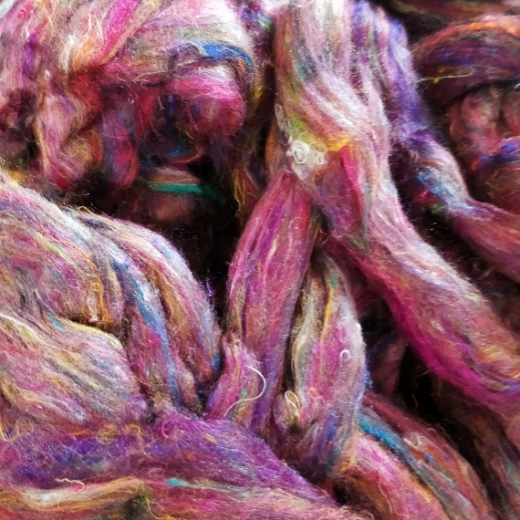 Recycled Sari Silk Roving 270g
